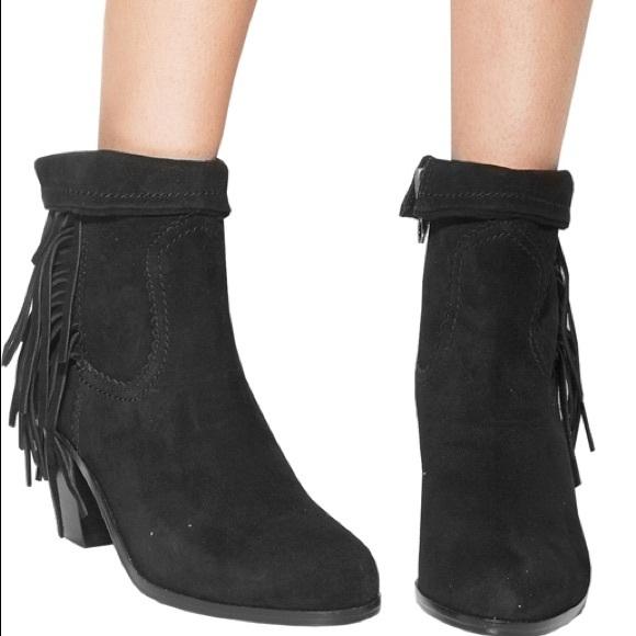 e0c099ccc47d05 Sam Edelman fringe Louie black suede boots fringe.  M 5b8c4db49e6b5b34bafc9044